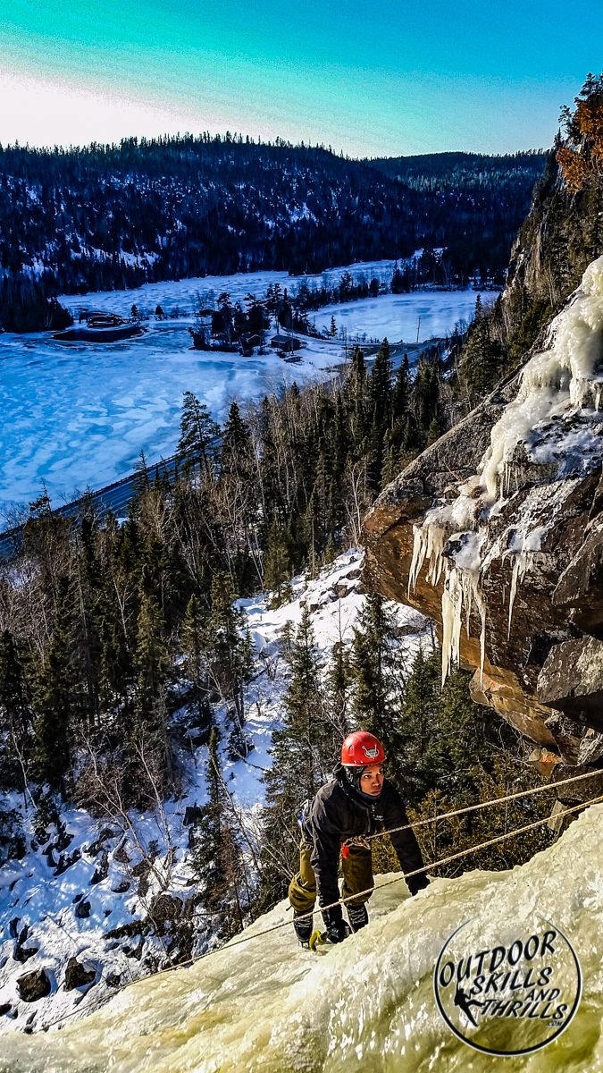 Ice climbing at Orient Bay -Outdoor Skills And Thrills -Photo by Aric Fishman