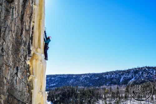 Ice climbing at Orient Bay -Outdoor Skills And Thrills -Photo by Paul Desaulniers