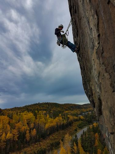 Duncan Hutchison on a hanging belay at Mount Olympus - Photo by Andy Noga