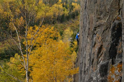 Steve Charlton climbing 'Courage Highway' - Photo by Aric Fishman