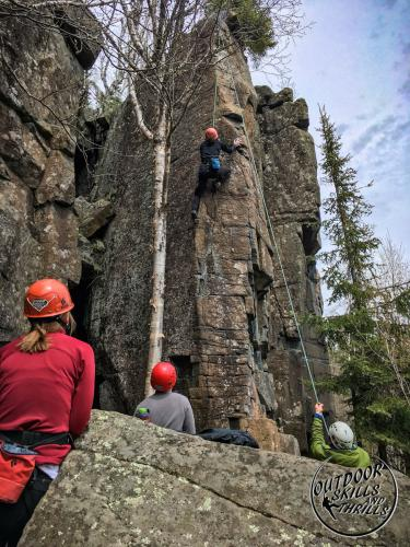 Rock climbing at Silver Harbour -Outdoor Skills And Thrills -Photo by: Tina Lynn